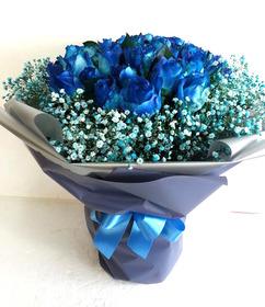 파란장미안개꽃다발(예약)