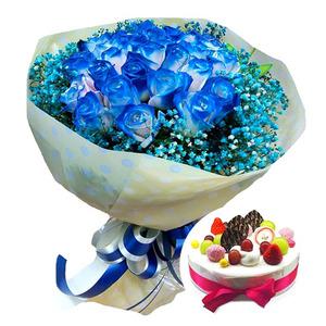 파란장미안개꽃다발 & 케익[예약상품]